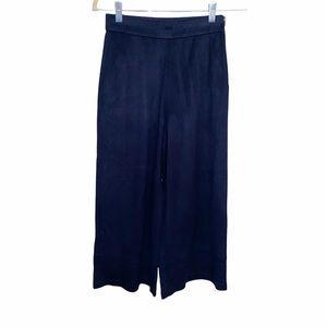 Zara Women's Suede Wide Leg Cropped Navy Pants XS